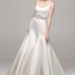 David's Bridal Trumpet Gown w/ button back detail